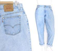 Sz 14 90s Levi's 550 High Waisted Mom Jeans - Vintage Women's Tapered Leg Light Blue Denim Jeans