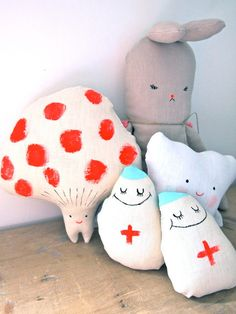 Toadstool hand painted soft toy decorative by JessQuinnSmallArt
