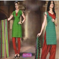 Casual Green Red Salwar Suit - eZeetoShop.com