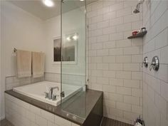 Shower with a small soaking tub