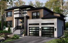 Modern home with grey stone and cedar and black trim for Armoire de cuisine excellence blainville