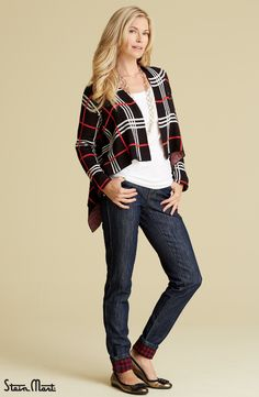 The Plaid Open Front Cardigan is our must-have knit cardigan this season!