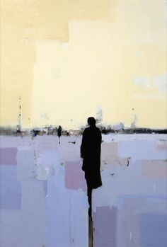 Geoffrey Johnson, In Yellow with Blue 5, 2014, Oil on wood panel, 36 x 24 inches