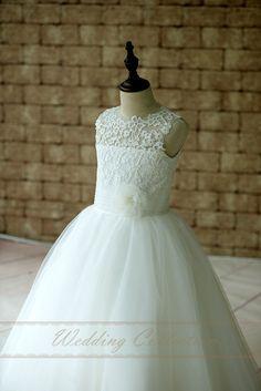 Nueva llegada sagrada blanco primera comunión Vestidos para las niñas escarpada del cordón del cuello de las muchachas de flor para bodas Vestidos de Comunion