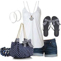 Lovin this semi-nautical look. Very summer. But, I probably wouldn't wear those flats. Too much bow. echhh!  -Breezy