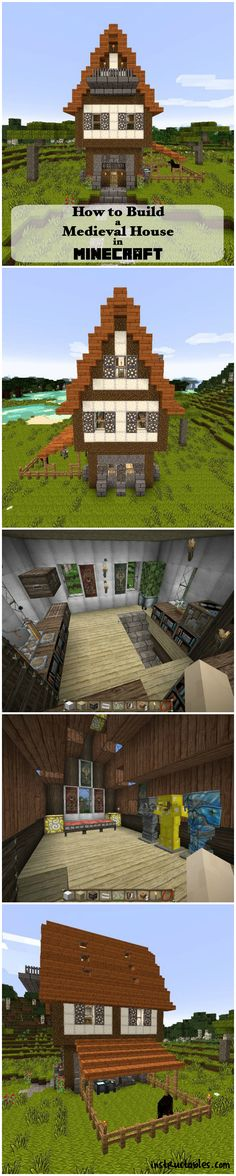 How to Build a Medieval House in Minecraft Minecraft Medieval, Minecraft City, How To Play Minecraft, Minecraft Buildings, Minecraft Stuff, Minecraft Ideas, Minecraft Activities, Building Map, Medieval Houses