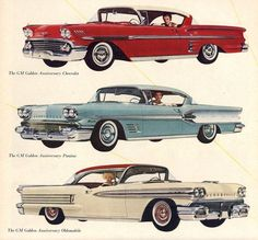 General Motors Golden Anniversary Models for 1958 - Chevrolet, Pontiac and Oldsmobile (note the positioning of the women in the cars)
