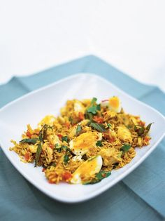 Kedgeree is a lovely dish which is originally from colonial India; the smokey haddock, spicy rice and boiled eggs create a great balance of flavours.
