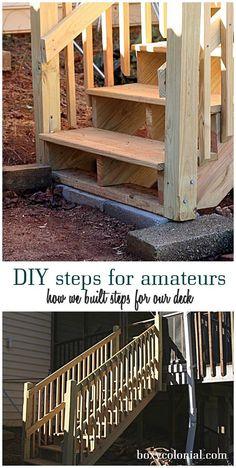 how we built steps for our back deck #deckbuilding #deckbuildingconcretepatios