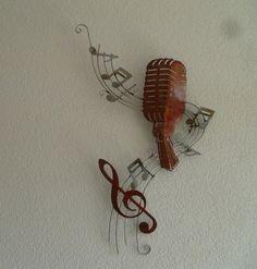 muurdecoratie 3D metaal Music Wave Microphone - Muziek - METALEN WANDDECORATIE