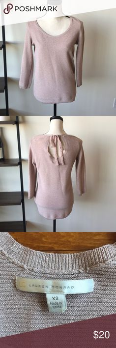 "Lauren Conrad Tan Sweater Beautiful tan and metallic sparkly sweater by Lauren Conrad. Worn lightly. Fits oversized. Length front 25"", back 27"", armpits to armpit 19"". Some minor sign of wear(see last pic) (sw13) LC Lauren Conrad Sweaters Crew & Scoop Necks"