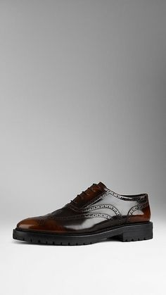 Brown Leather Wingtip Brogues With Rubber Sole | Burberry $690
