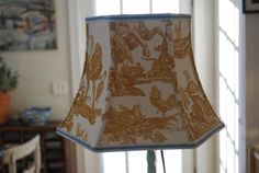 Bell Lamp Shade , Yellow French Toile by lampshadelady Lakes Lampshades