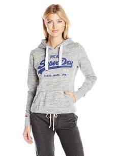 Superdry Women's Vintage Logo Duo Entry Hoodie, Grey Marl Twist, Large. Popover hoodie with drawstring hood and front pouch pocket. Cozy, plush fleece lining. Iconic Superdry Logo on chest.