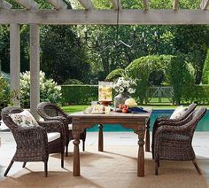 Enjoy al fresco meals with patio dining furniture from Pottery Barn. Shop wood and metal outdoor dining sets in a range of sizes, styles and colors. Outdoor Dining Furniture, Outdoor Dining Set, Patio Dining, Outdoor Rooms, Outdoor Living, Outdoor Decor, Dining Tables, Outdoor Patios, Outdoor Tables