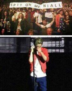 Niall's reaction to his friends sign they made him at the Dublin concert yesterday
