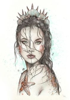 Fashion Portrait Illustration of a lost mermaid in watercolour. Mermaid Drawings, Mermaid Tattoos, Art Drawings, Mermaid Artwork, Siren Tattoo, Mermaid Sketch, Mermaid Paintings, Drawings Of Mermaids, Mermaid Prints
