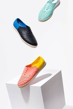 An Easy, Unusual Slip-on for the Beach: With their off-the wall colors and polka-dot perforation, Pleats Please, the latest shoe collaboration from Issey Miyake and Native, is a fun option for anyone looking to throw off an otherwise-simple skirt or denim look this summer. In a range of bright rubber styles, they're washable, waterproof, and (thankfully) odor-resistant.