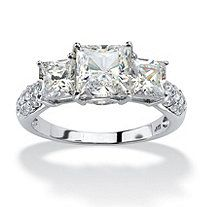 3.06 TCW Princess-Cut Cubic Zirconia Engagement Anniversary Ring in 10k White Gold