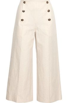Sonia Rykiel Cropped linen and cotton-blend wide-leg pants | NET-A-PORTER
