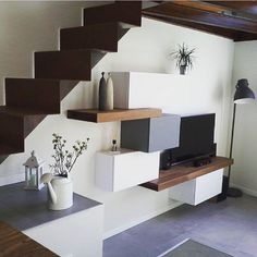 42 New Ideas For Stairs Design Living Room Stairs In Living Room, Living Room Tv Unit, Living Room Decor, Interior Stairs, Interior Architecture, Interior Design, Staircase Design, Cool House Designs, Home Fashion