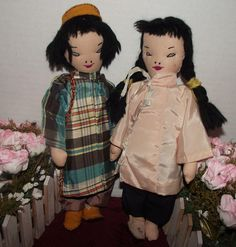 Two Vintage Old Beautiful Cloth Primitive Japanese Rag Dolls Circa 1930's