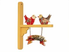Enfeite de Porta Pássaros Bem Vindo - Bege