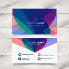 modern colorful business card Free Vector