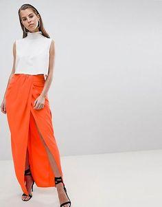 ASOS DESIGN twist front drape maxi skirt