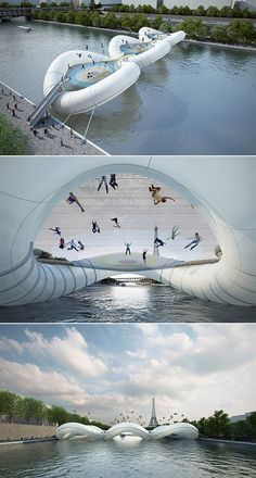 A Trampoline Bridge in Paris    Made of inflatable tubing and three giant interconnected trampolines, designed by AZC Architecture Studio. It would provide a newer and more playful path in the form of an inflatable bridge equipped with giant trampolines, dedicated to the joyful release from gravity as one bounces above the river.