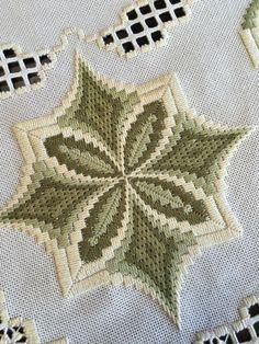 Bargello motif on even weave hardanger Hardanger Embroidery, Learn Embroidery, Ribbon Embroidery, Cross Stitch Embroidery, Cross Stitch Patterns, Broderie Bargello, Bargello Needlepoint, Needlepoint Stitches, Needlework