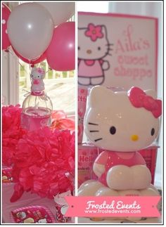 Hello Kitty Birthday party ideas, hello kitty party decorations via @frostedevents Cute party decor, party printables, hello kitty cupcakes and more