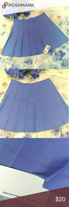 AMERICAN APPAREL Pleated Skirt Blue pleated mini skirt from American Apparel!  Pair with a crop top, or thigh highs for a cute youthful look!  Unworn! Brand new with tags! American Apparel Skirts Mini