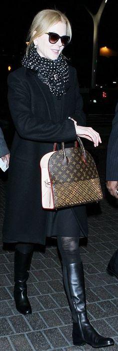 Who made Nicole Kidman's black sunglasses and brown studded handbag? (OutfitID)