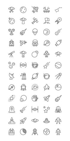 unique Tiny Tattoo Idea - Free Space iOS Line Icons Set - WooSkins