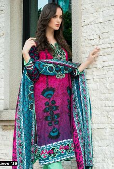 Magenta/Blue Printed Cotton Lawn Dress - Pakrobe