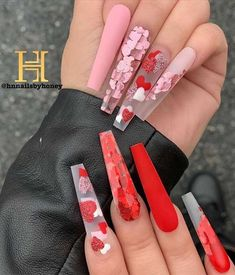 Gorgeous Valentine's Day Nail Art Designs 21 - - One of the most excited day is getting closer. It's a Valentine's Day! Whether you've planned to celebrate the day with your sweetheart, your. Valentine's Day Nail Designs, Cute Acrylic Nail Designs, Nail Designs Bling, Fruit Nail Designs, Nails Design, Bling Acrylic Nails, Gel Nails, Colored Acrylic Nails, Stiletto Nails
