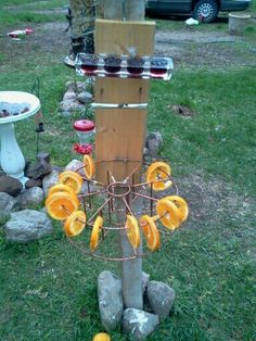 Homemade oriole feeder I made out of random items around the house. The birds loved it. I was refilling every other day.