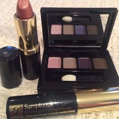 Estée Lauder eyeshadow compact, lipstick & mascara Estée Lauder eyeshadow compact has 4 shades.  Full size lipstick in Sugar Honey and sumptuous mascara in blk Estee Lauder Makeup Eyeshadow