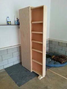pull-out pantry for a tiny/small space kitchen - this is a fabulous use of space and an amazing amount of foodstuffs can fit if you made the shelves wide enough to fit the average tupperware/canned goods/ball jars.  I like it - I like it a *lot!*