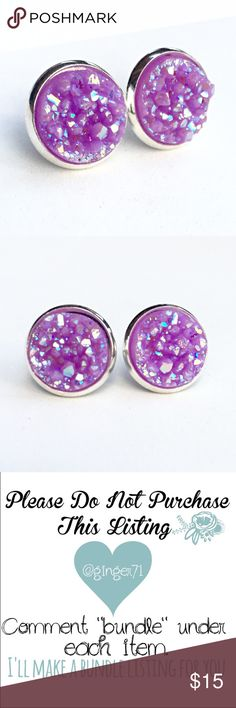 """3 for 15 lilac chunky Druzy style earrings PLEASE DO NOT BUY THIS LISTING.Please comment """"Bundle"""" under the items you'd like so I can make a listing.  Handmade by me  Drusy style 1/2 inch 12mm earrings in silver tone lead& nickel free frame. Silver backs. 3 pairs for $15. Minimum charge $15. Additional pairs $5. Price firm. Can mix/match any 3 for 15 items. Each piece varies slightly in shape. Chunky texture. Made of acrylic resin. Add to bundle won't calculate correct amount  Jewelry…"""