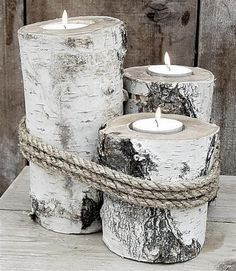 DIY Creative candles with logs. In this post we have selected for you 20 magnificent ideas to make candles from logs. Be inspired by these beautiful ideas. Birch Tree Decor, Branch Decor, Wood Tree, Wood Crafts, Diy And Crafts, Christmas Crafts, Christmas Decorations, Simple Christmas, Tree Decorations