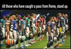 Those who caught a pass from Tony Romo.lol - Funny Sports - - Those who caught a pass from Tony Romo.lol The post Those who caught a pass from Tony Romo.lol appeared first on Gag Dad. Nfl Jokes, Funny Football Memes, Funny Sports Memes, Sports Humor, Cowboys Memes, Basketball Memes, Soccer Humor, Basketball Hoop, Tony Romo