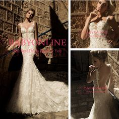 Find More Wedding Dresses Information about vestido de noiva 2015 New Sexy Spaghetti Straps Beaded Pearls Ivory Lace Mermaid Wedding dresses Backless Bridal Gowns GL1411,High Quality gowns white,China gown shoes Suppliers, Cheap gown corset from Suzhou Babyonline Dress Store on Aliexpress.com