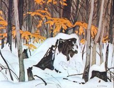 Birch Leaves in Winter. Casson Canadian, Member of The Group of Seven 1898 - 1992 Group Of Seven Art, Group Of Seven Paintings, Canadian Painters, Canadian Artists, Emily Carr Paintings, Tom Thomson Paintings, Ontario, Most Famous Artists, Winter Art