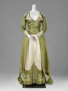 1786-1789, the Netherlands - Redingote or dress - Silk, chenille, floss