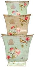 """Traders and Company Tin Decoupage Cache Pots, Set of 3 - 9""""Lx9""""H - Finch"""