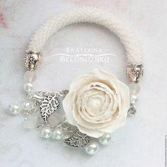 Bracelets handmade.  Fair Masters - handmade.  Buy Bracelet White peonies.  Handmade.  Beige, party decoration, beauty