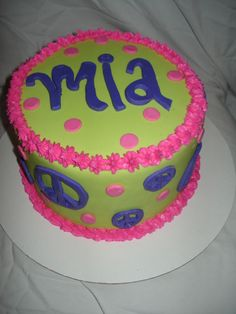 Peace Sign Girly Cake The customer wanted pink, purple and neon green with peace signs and this is what I came up with! The cake was a. Cake Birthday, Birthday Candles, Birthday Ideas, Peace Cake, Cupcake Cakes, Cupcakes, Girly Cakes, Cake Photos, Cake Making