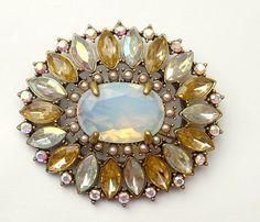 Vintage Pastel Opalescent Rhinestone Brooch Signed NR by jujubee1